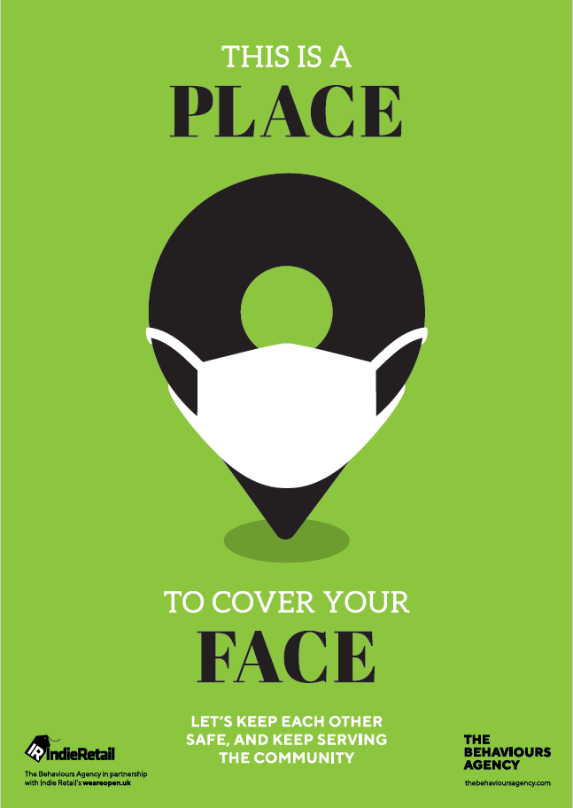 Covid-19 Behavioural-led Retail Posters - This is a place to cover your face