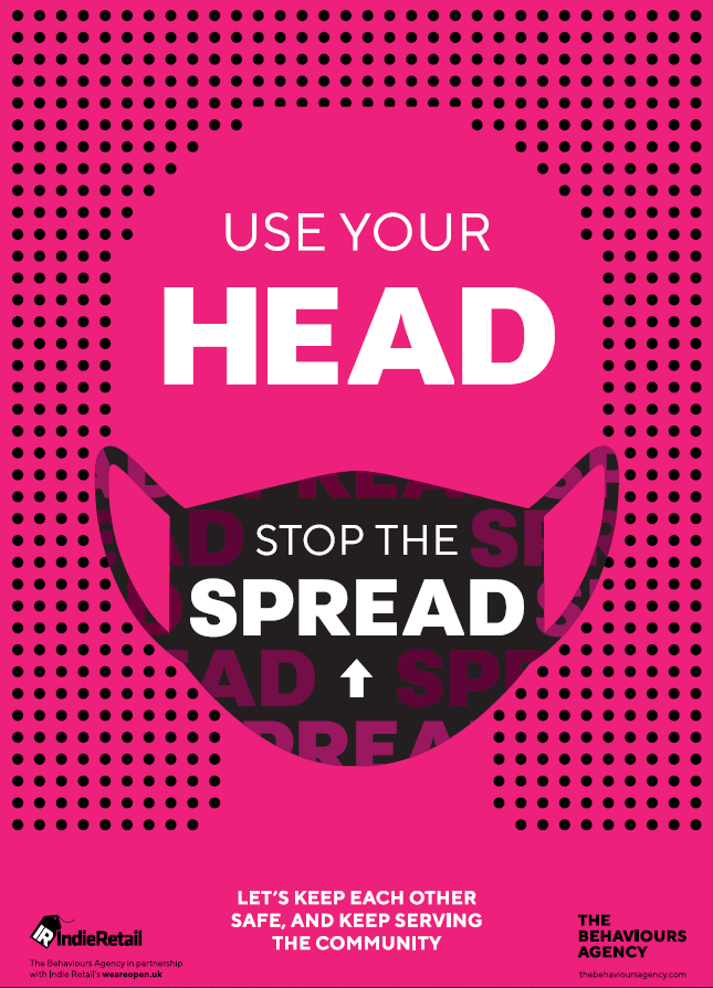 Covid-19 Behavioural-led Retail Posters - Use your head stop the spread