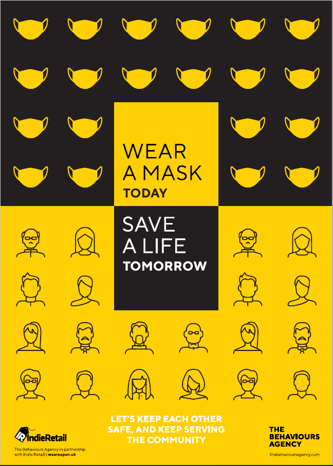 Covid-19 Behavioural-led Retail Posters - Wear a mask today save a life tomorrow